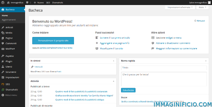 Area di amministrazione di WordPress