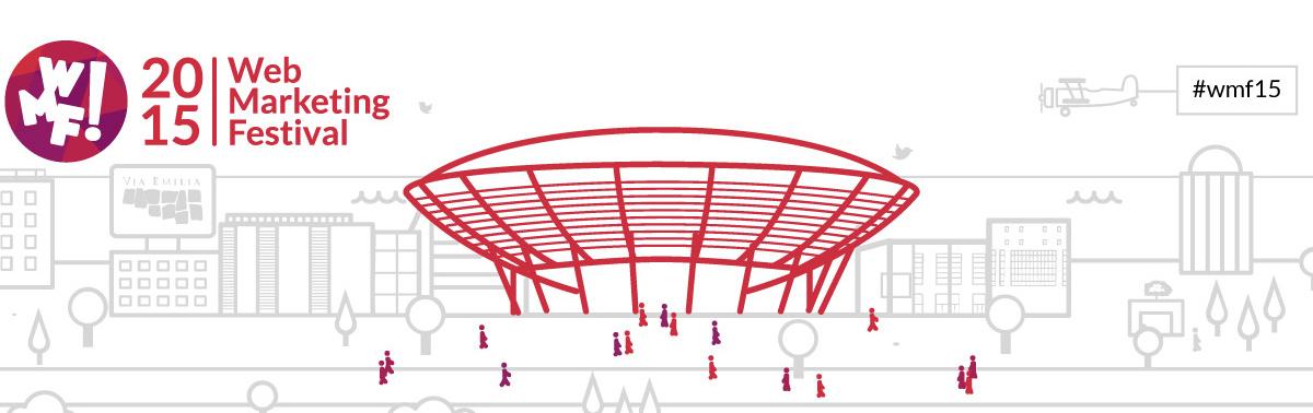 Immagine stilizzata del Palacongressi e della skyline di Rimini per il Web Marketing Festival del 2015.
