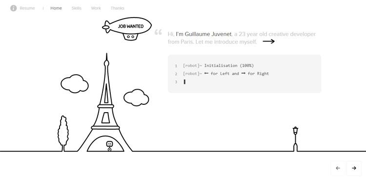 Screenshot del portfolio di Guillaume Juvenet