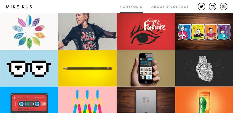Screenshot del portfolio di Mike Kus