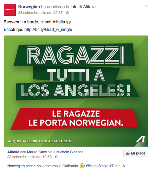 Risposta di Norwegian ad Alitalia