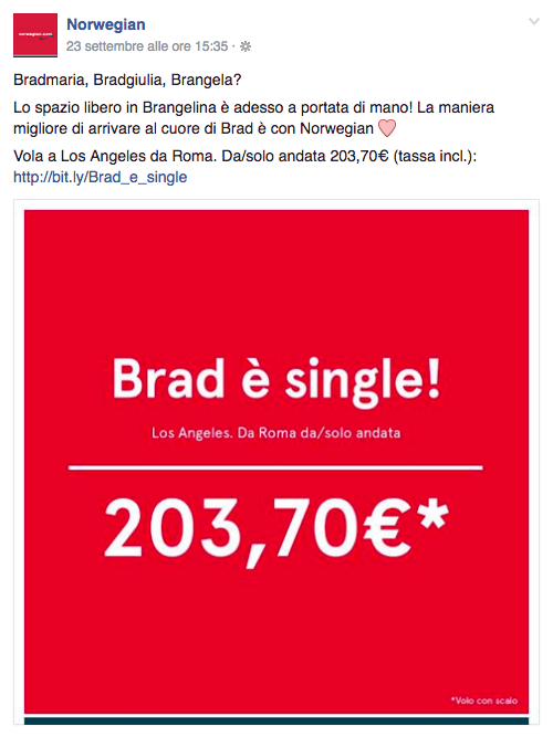 La Norwegian offre voli low cost per Los Angeles a tutte le donne: brad è single!