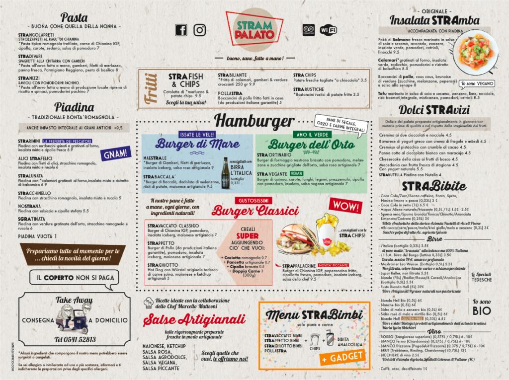 La tovaglietta menu di Strampalato di Rimini